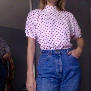 [Vintage] Pink Polka Dot Top